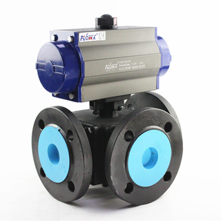 Pneumatic Actuated 3 Way Ball Valve